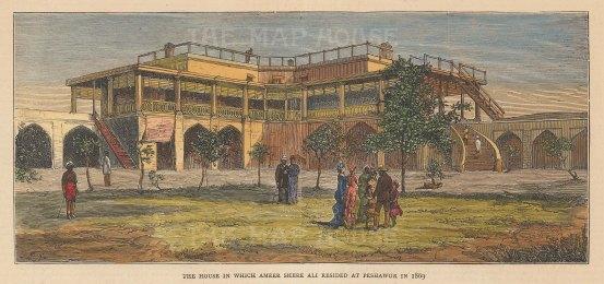 "Graphic Magazine: Peshawar. 1878. A hand coloured original antique wood engraving. 8"" x 4"". [NDp1580]"