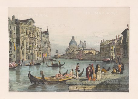 "Prout: Grand Canal, Venice. 1850. A hand coloured original antique lithograph. 15"" x 10"". [ITp1338]"