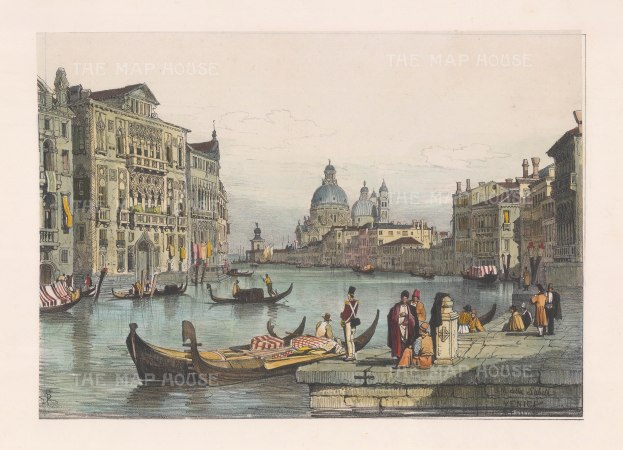 "Prout: Grand Canal, Venice. 1850. A hand coloured original antique lithograph. 15"" x 10"". [ITp1338]"