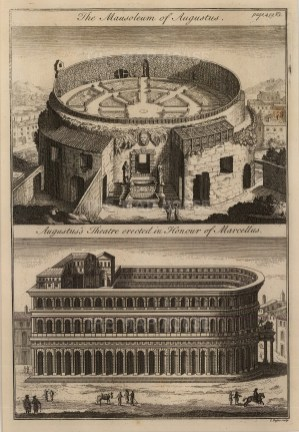 Campus Martius: Double view of the Mausoleum of Augustus and the Theatre of Marcellus.