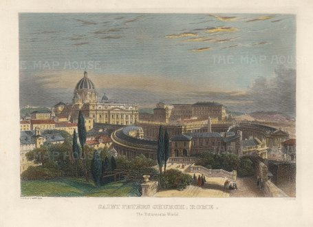 "Eastlake: St Peter's Basilica. c1870. A hand coloured original antique steel engraving. 8"" x 7"". [ITp2245]"