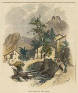 "Picturesque Mediterranean: Soller, Majorca. c1875. A hand coloured original antique wood engraving. 6"" x 7"". [MEDp293]"