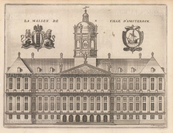 "de la Feuille: Town Hall, Amsterdam. c1720. An original colour antique copper engraving. 8"" x 6"". [NETHp172]"