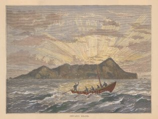 """Brown: Pitcairn Island. 1884. A hand coloured original antique wood engraving. 7"""" x 5"""". [PLYp170]"""