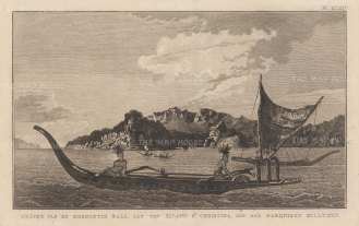 Marquesas Islands: St Christina (Tahuata) Island. View of Resolution (Vaitahu). Bay with native boats in foreground. After William Hodge, artist on the Second Voyage. Dutch Edition.