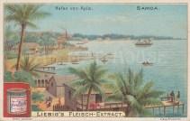 """Liebig: Apia, Samoa. c1900. An original antique chromolithograph, 4"""" x 3"""". [PLYp196]"""