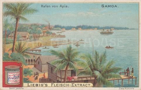 """Liebig's Extract: Apia, Samoa. c1900. An original antique chromolithograph, 4"""" x 3"""". [PLYp196]"""