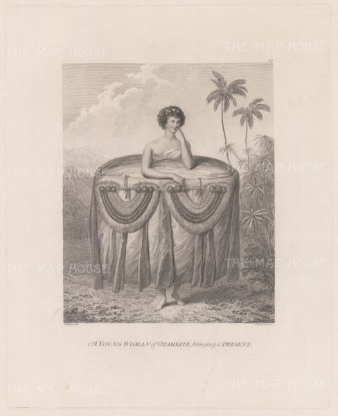 Matavai Bay: Young Woman of Otaheite bringing a present. After John Webber, artist on the Third Voyage.