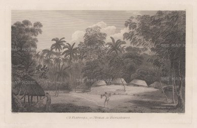 Fiatooka or Morai: View of a burial ground. After John Webber, artist on the Third Voyage.