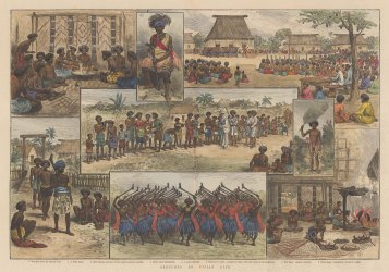 """Illustrated London News: Fiji. 1885. A hand coloured original antique wood engraving. 19"""" x 14"""". [PLYp243]"""