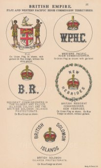British Empire. Arms and flags of Fiji and the Western Pacific High Comission Territories.