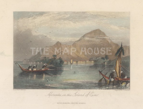 "Jackson: Afarreaitu, Moorea. 1836. A hand coloured original antique steel engraving. 5"" x 4"". [PLYp259]"