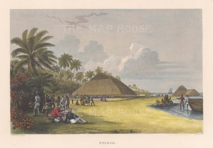 Tabiteuea (Drummond's Island): View of the capital Utiroa. From the Charles Wilkes Expedition 1838-42.