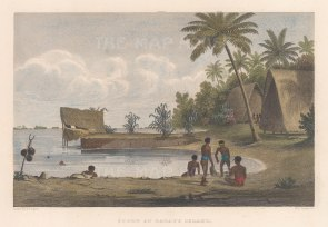 Oatifu Island (Duke of York Island). View in a harbour. From the Charles Wilkes Expedition 1838-42.