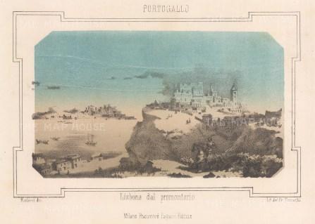 """Pagnoni: Lisbon. c1863. An original tinted antique lithograph. 6"""" x 4"""". [PORp160]"""