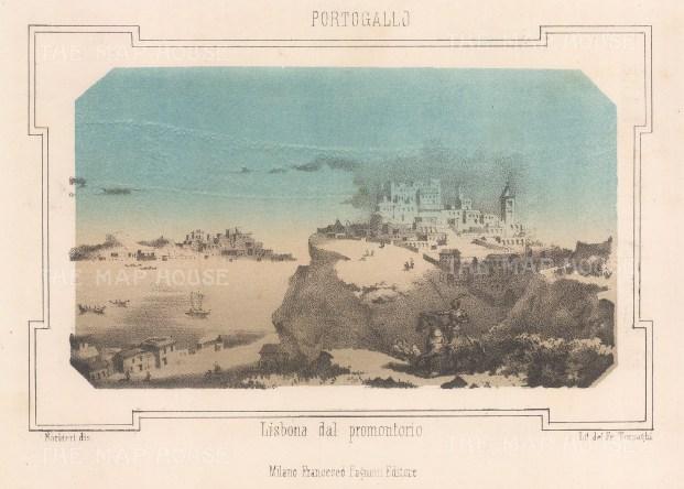 """Pagnoni: Lisbon, Portugal. c1863. An original tinted antique lithograph. 6"""" x 4"""". [PORp160]"""
