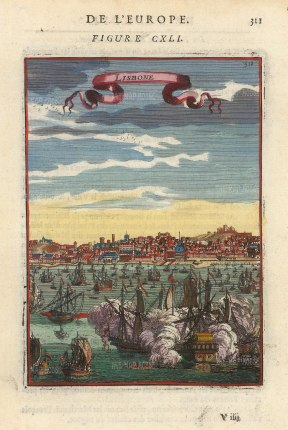 "Mallet: Lisbon. 1683. A hand coloured original antique copper engraving. 4"" x 6"". [PORp183]"