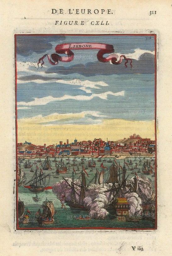 "Mallet: Lisbon, Portugal. 1683. A hand coloured original antique copper engraving. 4"" x 6"". [PORp183]"