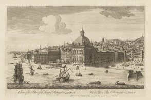 Ribiera Palace (Praca do Comercio). View from across the Tagus river of the palace destroyed in the earthquake of 1755 and now the Praca do Comercio.