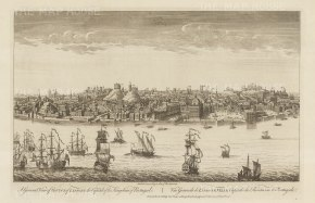 Panorama from across the Tagus: Showing Lisbon as it was before the earthquake of 1755, which largely destroyed the old town.