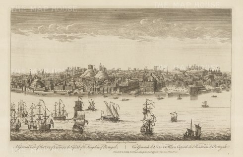 Panorama from across the Tagus. Showing Lisbon as it was before the earthquake of 1755, which largely destroyed the old town.