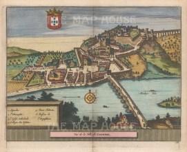 "van der Aa: Coimbra, Portugal. 1727. A hand coloured original antique copper engraving. 7"" x 5"". [PORp189]"