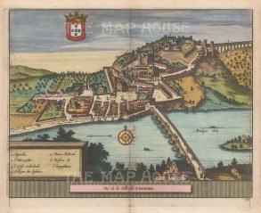 "Van der Aa: Coimbra. 1727. A hand coloured original antique copper engraving. 7"" x 5"". [PORp189]"