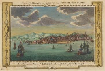 "Millar: Lisbon. c1780. A hand coloured original antique copper engraving. 12"" x 9"". [PORp193]"