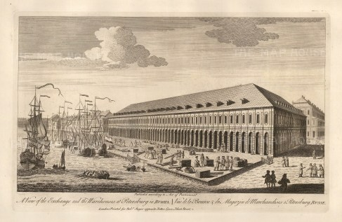 View of the Royal Exchange and warehouses.