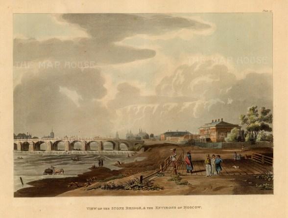 """Ackermann: Stone Bridge, Moscow. 1813. An original colour antique aquatint. 12"""" x 10"""". [RUSp723]"""