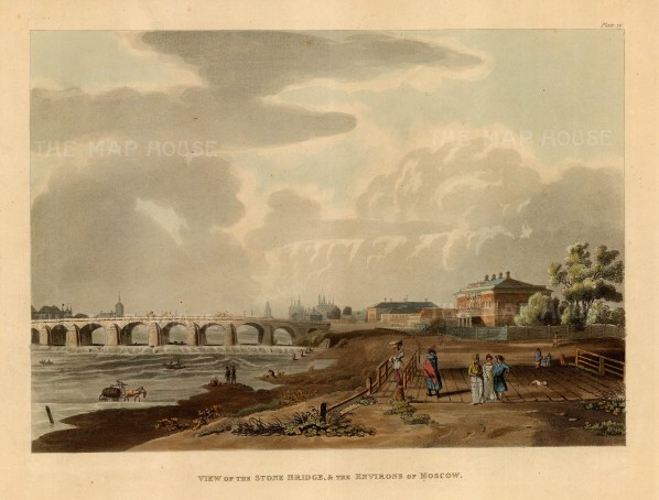Stone Bridge and Environs of Moscow. By the end of the 18th century Moscow had 17 stone and 23 wooden bridges.After Guerard de la Barthe.