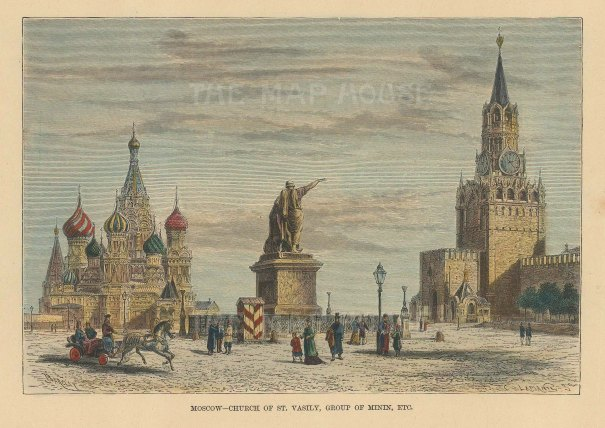 Kremlin: View of St Basil's Cathedral, the monument to Prince Pozarssky and Kusma Minin, and Saviour's Tower.