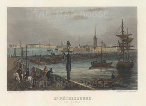 "Chardon: St Petersburg. c1840. A hand coloured original antique steel engraving. 6"" x 5"". [RUSp767]"