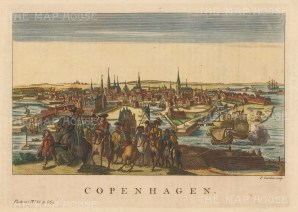 "Salmon: Copenhagen, Denmark. 1793. A hand coloured original antique copper engraving. 11"" x 8"". [SCANp213]"