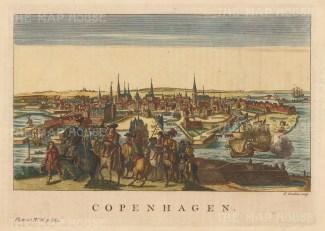 "Salmon: Copenhagen, Denmark. 1793. A hand coloured original antique copper engraving. 11"" x 8"". [SCANp213]"