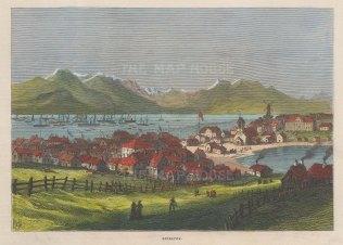 "Illustrated London News: Rekayvik, Iceland. 1875. A hand coloured original antique wood engraving. 10"" x 7"". [SCANp312]"