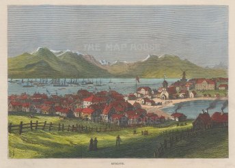 "Illustrated London News: Rekayvik, Iceland. 1875. A hand coloured original antique wood engraving. 10"" x 7"". [SCANp312]"