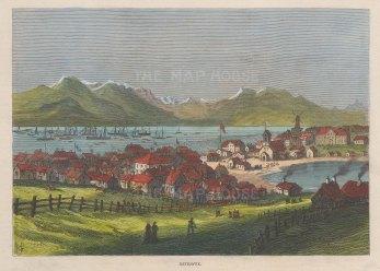 "Illustrated London News: Reykjavik, Iceland. 1875. A hand coloured original antique wood engraving. 10"" x 7"". [SCANp312]"