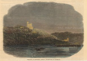 """Illustrated London News: Oslo, Norway. 1869. A hand coloured original antique wood engraving. 7"""" x 5"""". [SCANp343]"""