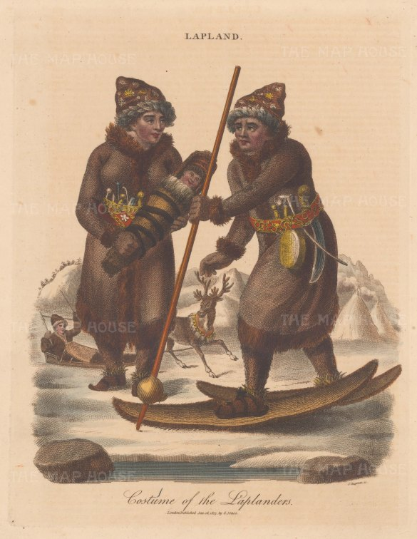 "Wilkes: Laplanders. 1814. A hand coloured original antique copper engraving. 8"" x 11"". [SCANp376]"