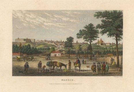 "Meyer: Madrid. c1840. A hand coloured original antique steel engraving. 6"" x 4"". [SPp1082]"