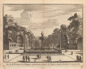 "Van der Aa: Fountain of the Harpies, Aranjuez. 1706. An original antique copper engraving. 5"" x 4"". [SPp1104]"