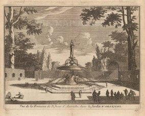 "Van der Aa: Fountain of Don John of Austria, Aranjuez. 1706. An original antique copper engraving. 5"" x 4"". [SPp1105]"