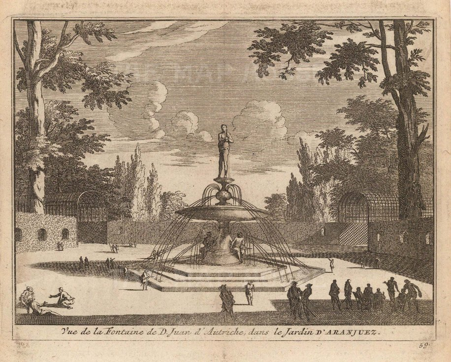 "Van der Aa: Fountain of Don John of Austria, Aranjuez. 1706. An original antique copper engraving. 5"" x 4"". [SPp1105]"