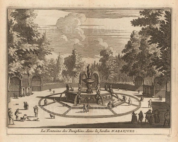 "Van der Aa: Fountain of the Dolphins, Aranjuez. 1706. An original antique copper engraving. 5"" x 4"". [SPp1106]"