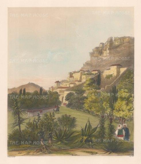 """Vivian: Gibraltar. 1838. An original colour antique lithograph. 12"""" x 14"""". [SPp861]"""