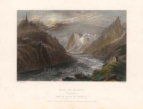"Bartlett: Mer de Glace, Chamonix. 1837. A hand coloured original antique steel engraving. 8"" x 6"". [SWIp752]"