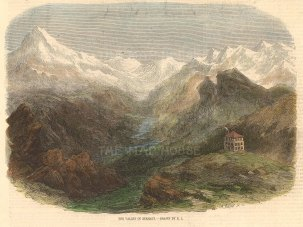"""Picturesque Europe: The Eiger, Switzerland. c1890. A hand coloured original antique wood engraving. 9"""" x 7"""". [SWIp771]"""