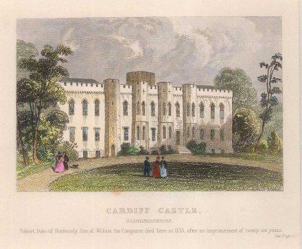 "Dugdale: Cardiff Castle. c1830. A hand coloured original antique steel engraving. 4"" x 3"". [WCTSp467]"