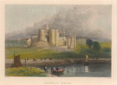 "Radclyffe: Kidwally Castle. 1836. A hand coloured original antique steel engraving. 5"" x 4"". [WCTSp474]"